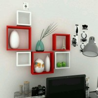 View OnlinePurchas Square MDF Wall Shelf(Number of Shelves - 6, Red, White) Furniture (OnlinePurchas)