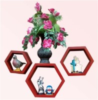 View BM WOOD FURNITURE Hexagon set of 3 MDF Wall Shelf(Number of Shelves - 3, Red) Price Online(BM WOOD FURNITURE)