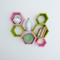 View Wallz Art Hexagon Shape MDF Wall Shelf(Number of Shelves - 6, Green) Price Online(Wallz Art)