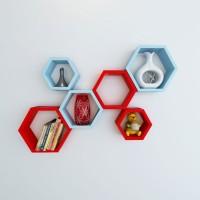 View Wallz Art Hexagon Shape MDF Wall Shelf(Number of Shelves - 6, Red) Price Online(Wallz Art)