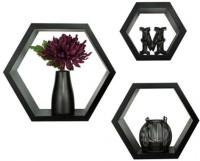 View Usha Furniture Wooden Wall Shelf(Number of Shelves - 3, Black) Price Online(Usha Furniture)