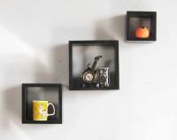 View Desert Decoration MDF Wall Shelf(Number of Shelves - 3, Black) Furniture (Desert Decoration)