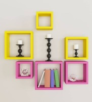 View Wooden Art &Toys MDF Wall Shelf(Number of Shelves - 6, Yellow, Pink) Furniture (Wooden Art & Toys)