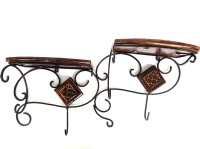 View Woodpedlar Pair Wooden, Iron Wall Shelf(Number of Shelves - 2, Black, Brown) Furniture (Woodpedlar)