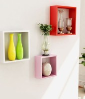View Art Gallery MDF Wall Shelf(Number of Shelves - 3, White, Red, Pink) Furniture (Art Gallery)