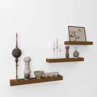 View eCraftIndia Set of 3 Modern Design Floating Wooden Wall Shelf(Number of Shelves - 3, Brown) Furniture (eCraftIndia)