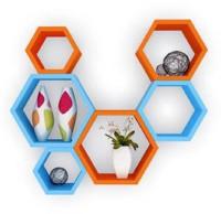 View Wallz Art Hexagon Shape MDF Wall Shelf(Number of Shelves - 6, Blue) Price Online(Wallz Art)