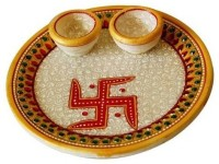 Shreeng Puja Thali with Marble Diya Marble(1 Pieces, Multicolor)