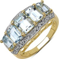Johareez Sterling Silver Aquamarine Sterling Silver Plated Ring