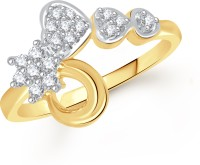 VK Jewels Three Heart Alloy Diamond Yellow Gold Plated Ring