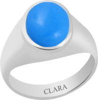 CLARA Certified Firoza 7.5 cts or 8.25 ratti Bold Sterling Silver Turquoise Ring