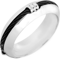 the jewelbox Rope Band Stainless Steel Rhodium Plated Ring
