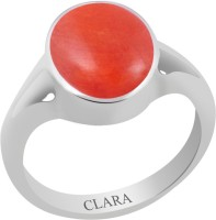 CLARA Certified Moonga 3.9 cts or 4.25 ratti Zoya Sterling Silver Coral Ring