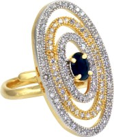 alysa Chhavi Silver, Copper, Brass Cubic Zirconia 18K Yellow Gold, Rhodium Plated Ring