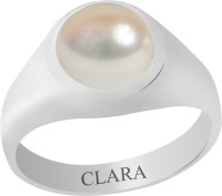 CLARA Certified Moti 3.9 cts or 4.25 ratti Bold Sterling Silver Pearl Ring