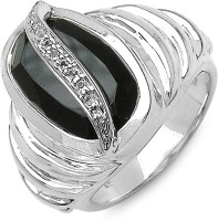 Johareez Sterling Silver Onyx Sterling Silver Plated Ring