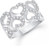 VK Jewels Dancing Heart Alloy Diamond Rhodium Plated Ring