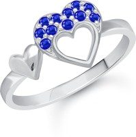 VK Jewels Double Heart Alloy Cubic Zirconia Rhodium Plated Ring