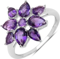 Johareez Sterling Silver Amethyst Sterling Silver Plated Ring