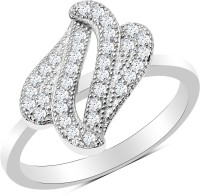 Johareez Sterling Silver Cubic Zirconia Rhodium Plated Ring