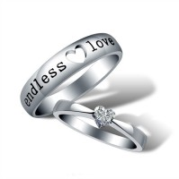 Yellow Chimes 'Endless Love' Alloy Crystal Sterling Silver Plated Ring Set