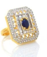alysa Virupa Silver, Copper, Brass Cubic Zirconia 18K Yellow Gold, Rhodium Plated Ring