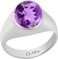 CLARA Certified Katela 7.5 cts or 8.25 ratti Bold Sterling Silver Amethyst Ring