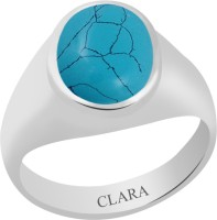 CLARA Certified Firoza 3 cts or 3.25 ratti Bold Sterling Silver Turquoise Ring