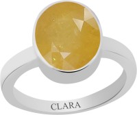 CLARA Certified Pukhraj 4.8 cts or 5.25 ratti Elegant Sterling Silver Sapphire Ring