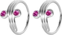 abhooshan Sterling Silver Crystal Toe Ring Set