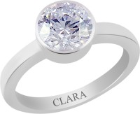 CLARA Certified 6.5 cts or 7.25 ratti Elegant Sterling Silver Zircon Ring