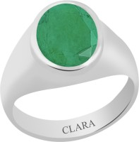 CLARA Certified Panna 5.5 cts or 6.25 ratti Bold Sterling Silver Emerald Ring