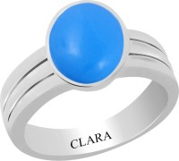 CLARA Certified Firoza 6.5 cts or 7.25 ratti Stunning Sterling Silver Turquoise Ring