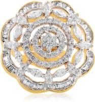 alysa Flora Silver, Copper, Brass Cubic Zirconia Rhodium, Gold Plated Ring