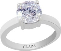 CLARA Certified 4.8 cts or 5.25 ratti 4 Prongs Sterling Silver Zircon Ring