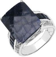 Johareez Sterling Silver Sapphire Rhodium Plated Ring