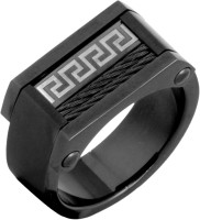 the jewelbox Geometric Designer Stainless Steel Black Silver Plated Ring