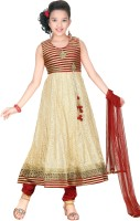 Trendyy Girls Self Design Kurta & Churidar(Stitched)