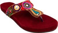 Footrendz Women Maroon::Dark blue; pink; brown; orange; yellow Flats