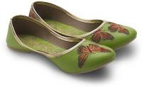Little India Women Modern Butterfly Designer Ballerina Sandals 349 Jutis For Women(Green)