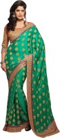Khushali Self Design, Embellished, Embroidered Fashion Georgette, Jacquard Saree(Green, Beige)