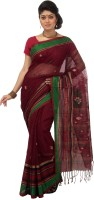 Mrsaree Self Design Tant Handloom Cotton Saree(Maroon)