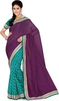 Saree Swarg Solid, Printed Bollywood Art Silk, Net Saree(Green, Purple)