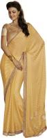 Melluha Embroidered Fashion Satin Saree(Yellow)