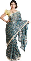 Ethnic Bliss Lifestyles Self Design Phulkari Chiffon Saree(Multicolor)