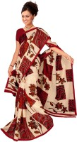 Jiya Self Design, Printed Daily Wear Cotton Blend Saree(Multicolor, Brown, Beige)