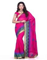 Meghdoot Self Design Fashion Chiffon Saree(Pink)