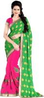 Jiya Self Design, Embroidered, Embellished Fashion Cotton Blend, Poly Georgette Saree(Green, Pink)