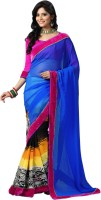 Kanheyas Printed, Solid Bollywood Handloom Chiffon Saree(Multicolor)