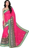 Khushali Self Design, Embroidered Fashion Georgette Saree(Pink, Grey, Black)